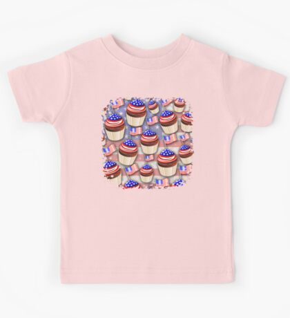 USA Flag Cupcakes Pattern Kids Tee