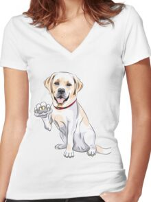 Labrador Retriever smiles and gives a paw Women's Fitted V-Neck T-Shirt