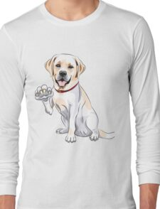 Labrador Retriever smiles and gives a paw Long Sleeve T-Shirt