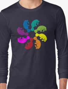 Color: Manatee Rainbow Pinwheel  Long Sleeve T-Shirt