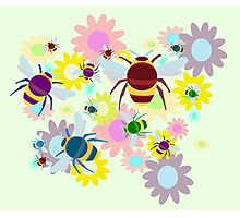 Bees & Flowers Photographic Print