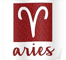 Aries Sparkly Star Sign Poster