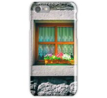 an old wall with window and flowers iPhone Case/Skin