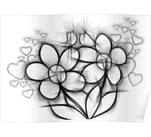 BW Flowers Poster