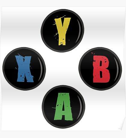 X Box Buttons - Grunge Style Poster