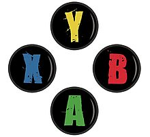 X Box Buttons - Grunge Style Photographic Print