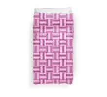 Pattern 106: Striped squares in white and pink Duvet Cover