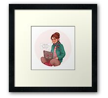 Cath writing Carry On Framed Print
