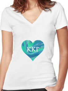 KKG cool colored heart Women's Fitted V-Neck T-Shirt