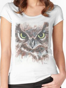 Owl Face in Watercolor Women's Fitted Scoop T-Shirt