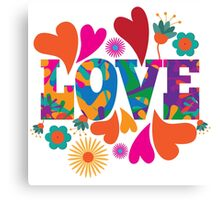 Sixties style mod pop art psychedelic colorful Love text design. Canvas Print
