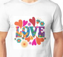 Sixties style mod pop art psychedelic colorful Love text design. Unisex T-Shirt