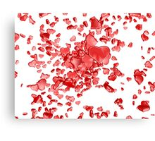 Red hearts on white background Canvas Print