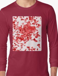 Red hearts on white background Long Sleeve T-Shirt