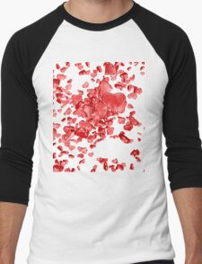 Red hearts on white background Men's Baseball ¾ T-Shirt