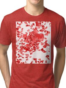 Red hearts on white background Tri-blend T-Shirt