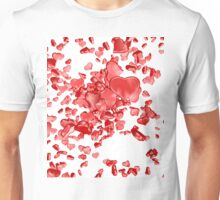 Red hearts on white background Unisex T-Shirt