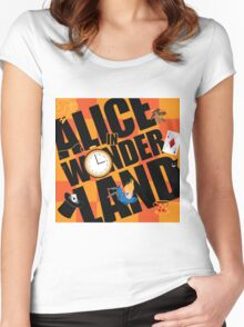 Alice in Wonderland Title with playing cards, pocket watch, hat, key,magic mushrooms Women's Fitted Scoop T-Shirt