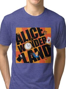 Alice in Wonderland Title with playing cards, pocket watch, hat, key,magic mushrooms Tri-blend T-Shirt