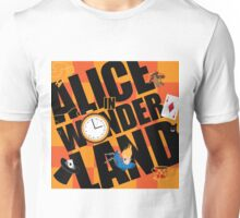Alice in Wonderland Title with playing cards, pocket watch, hat, key,magic mushrooms Unisex T-Shirt