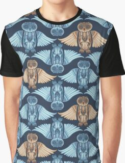 Hand-Drawn Owl pattern with abstract illustration Graphic T-Shirt