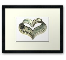 Valentine heart shape made by dollars Framed Print
