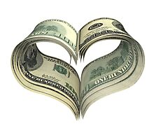 Valentine heart shape made by dollars Photographic Print