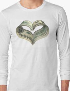Valentine heart shape made by dollars Long Sleeve T-Shirt
