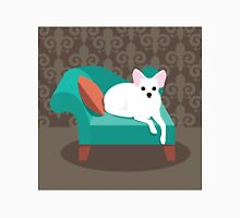 Flat design white Chihuahua on her chaise longue Unisex T-Shirt