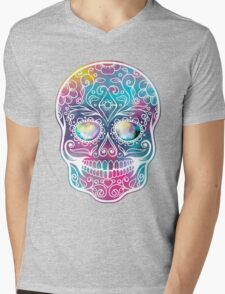 Watercolor Skull Mens V-Neck T-Shirt