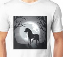 Black horse in the moonlight  Unisex T-Shirt