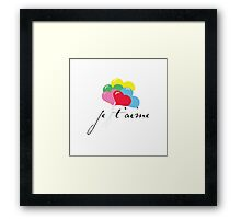 je' taime with balloons (I love you) Framed Print