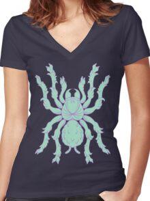 Heraldic Tarantula (Aqua / Lavender 1) Women's Fitted V-Neck T-Shirt