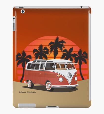 Hippie 21 Window VW Bus Red Surfboard on the Beach iPad Case/Skin