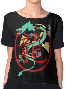 Beautiful Dragon weaved through Chinese dragon symbol Chiffon Top