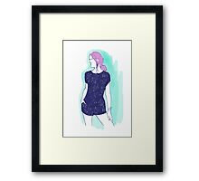 pink hair girl, fashion illustration Framed Print