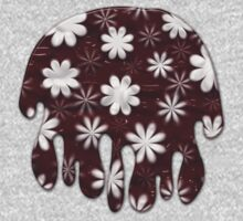 Melted Chocolate and Milk Flowers Pattern One Piece - Short Sleeve