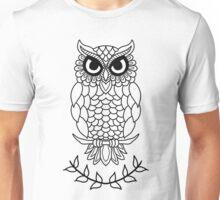 Owl Black and White Mindfulness Zentangle Unisex T-Shirt