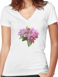 Pink blossoms Women's Fitted V-Neck T-Shirt