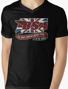 BSA MOTORCYCLE VINTAGE ART Mens V-Neck T-Shirt