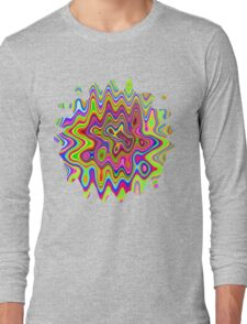 Psychedelic Glowing Colors Pattern Long Sleeve T-Shirt