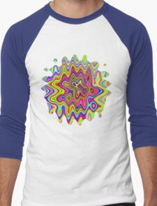Psychedelic Glowing Colors Pattern Men's Baseball ¾ T-Shirt