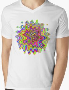 Psychedelic Glowing Colors Pattern Mens V-Neck T-Shirt