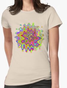Psychedelic Glowing Colors Pattern Womens Fitted T-Shirt