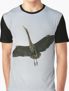 Flying Great Blue Heron Graphic T-Shirt