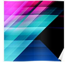 Bright Pink Teal and Blue Geometric Pattern Poster