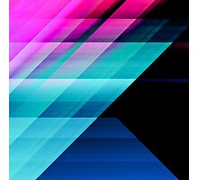 Bright Pink Teal and Blue Geometric Pattern Photographic Print