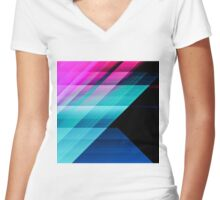 Bright Pink Teal and Blue Geometric Pattern Women's Fitted V-Neck T-Shirt