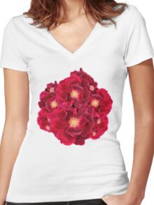 Floral Ink Women's Fitted V-Neck T-Shirt