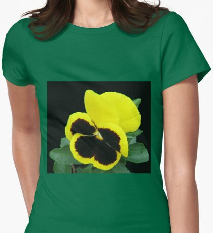 Lonesome - Yellow Blotch Pansy on Black Background Womens Fitted T-Shirt